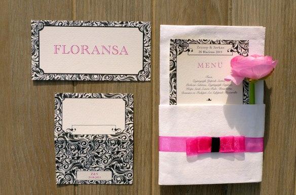 Düğün Menü, Davetli Oturma Kartları ve Masa Numaraları